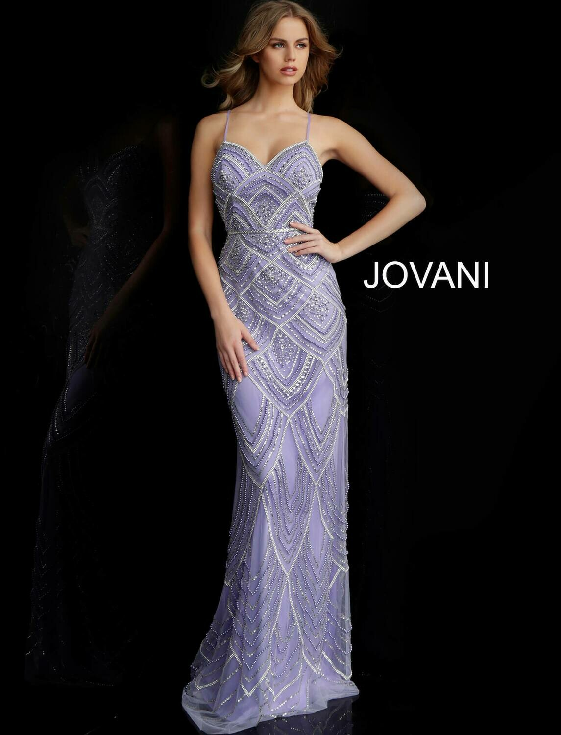 Jovani Beaded Gown with Sweetheart Neckline in Lilac