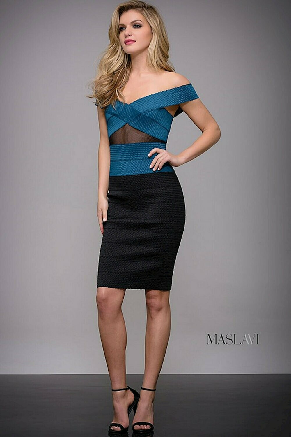 Jovani Off Shoulder Cocktail Dress in Teal and Black