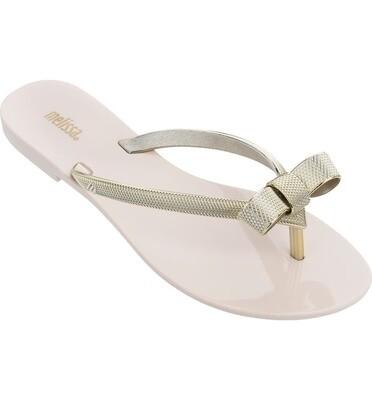 Melissa Harmonic Chrome Bow Flip Flop Gold
