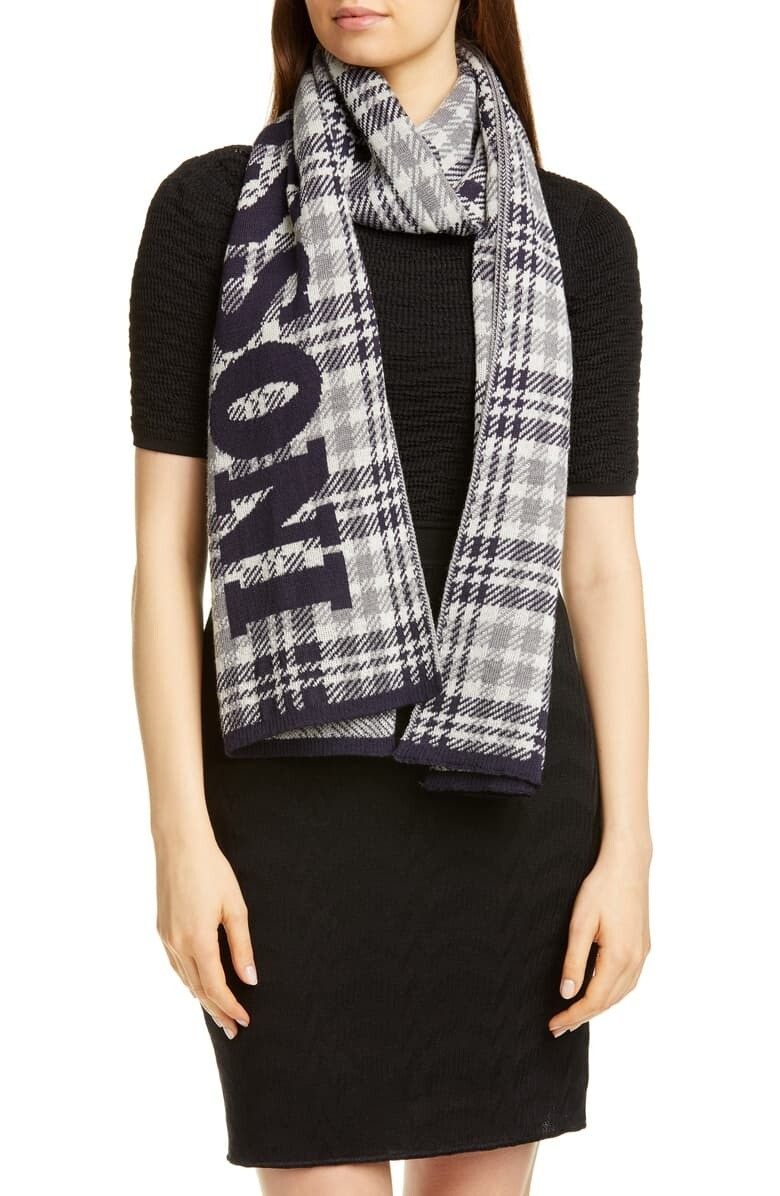 Missoni Plaid Logo Scarf Black Plaid