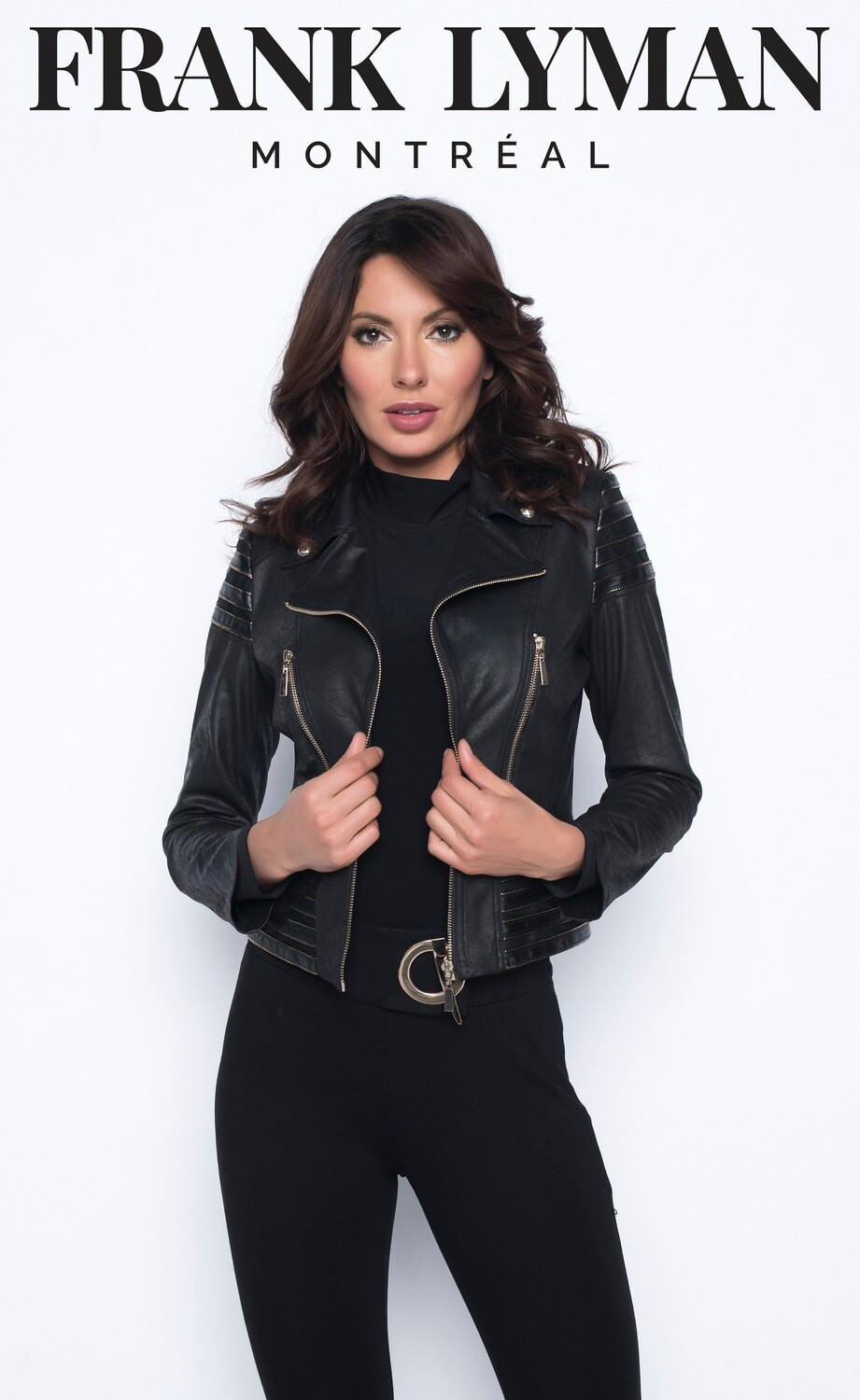 Frank Lyman Faux Leather Jacket with Gold Metal Detailing in Black