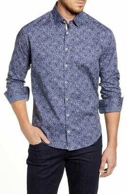 Stone Rose Floral Navy Print Long Sleeve Shirt