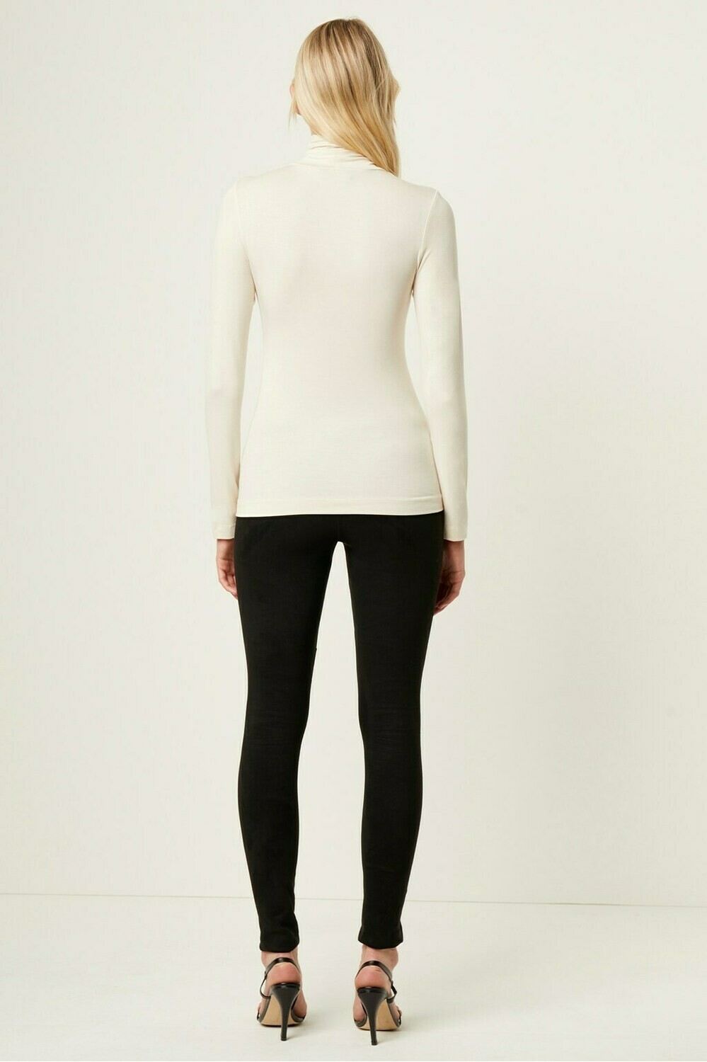 French Connection Venetia Jersey Split Cuff Turtleneck in Ivory