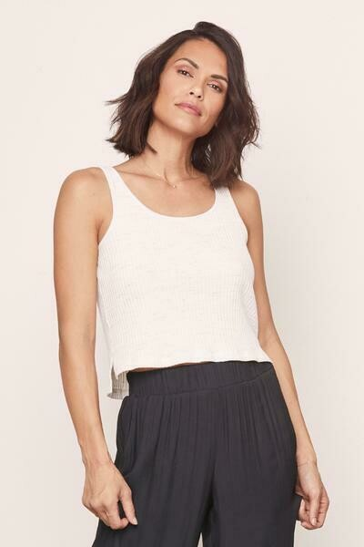 David Lerner Speckled Crop Tank in Light Wheat