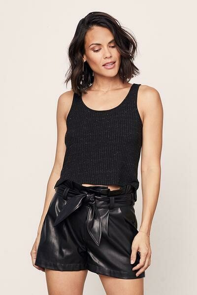 David Lerner Speckled Crop Tank in Black