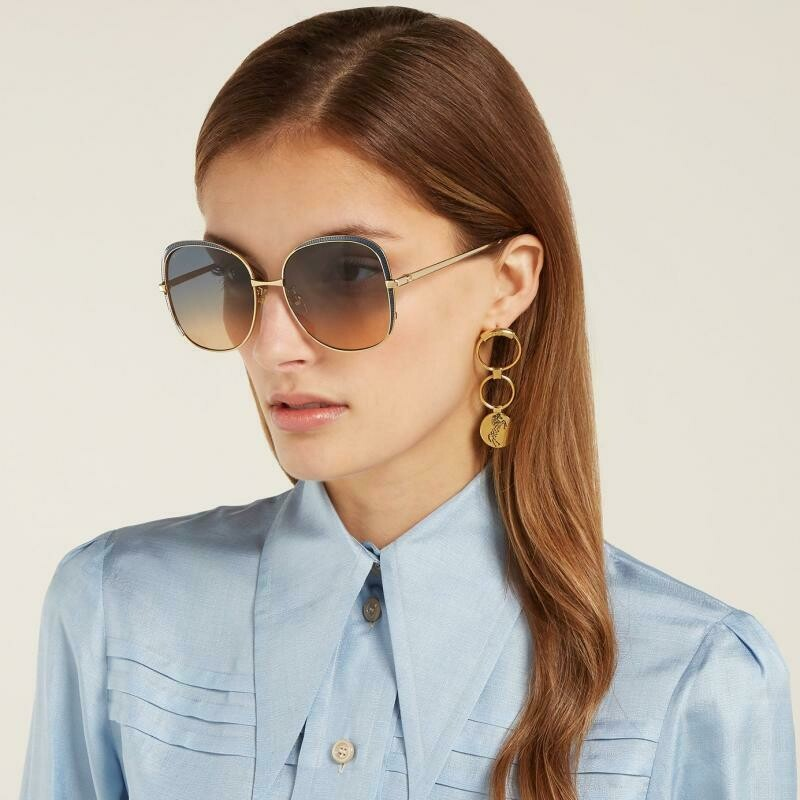 Gucci Square Metal Frame Sunglasses In Gold/Blue