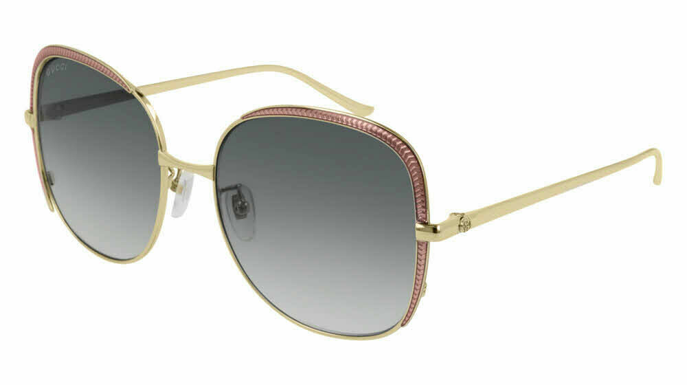 Gucci Square Metal Frame Sunglasses In Rose/Gold