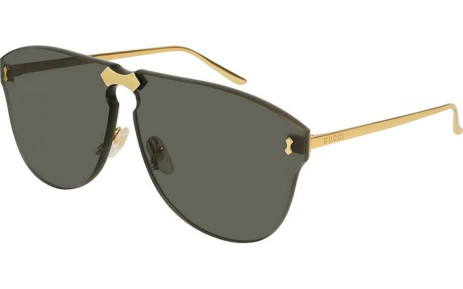 Gucci Gold Frame Unisex Sunglasses with Gray Lenses