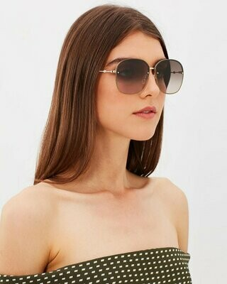 Gucci Metallic Sunglasses With Gradient Lenses In Gold/Glitter