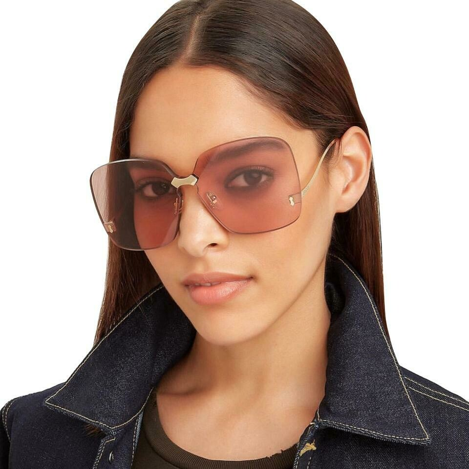 Gucci Fashion Inspired Metal Sunglass In Gold/Pink