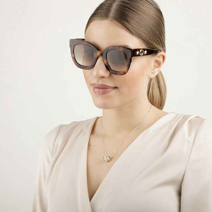 Gucci Round Frame Acetate Sunglasses With Star in Avana/Brown