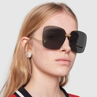 Gucci Fashion Inspired Metal Sunglass In Gold/Gray