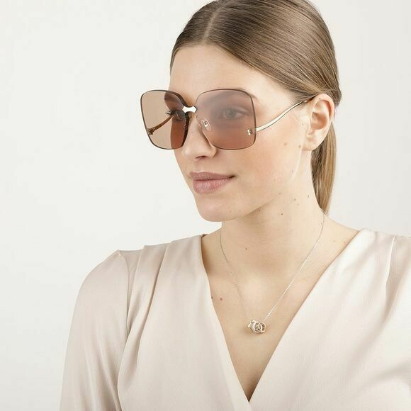 Gucci Fashion Inspired Metal Sunglass In Gold/Brown