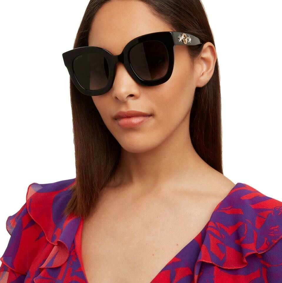 Gucci Round Frame Acetate Sunglasses With Star in Black