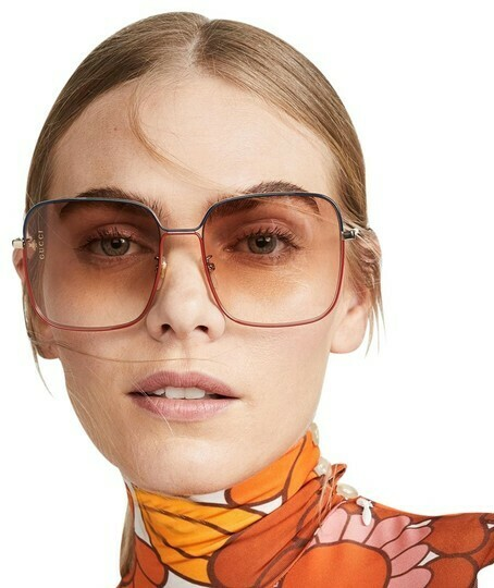 Gucci Rectangle Metal Sunglasses In Shiny Gold/Red/Green