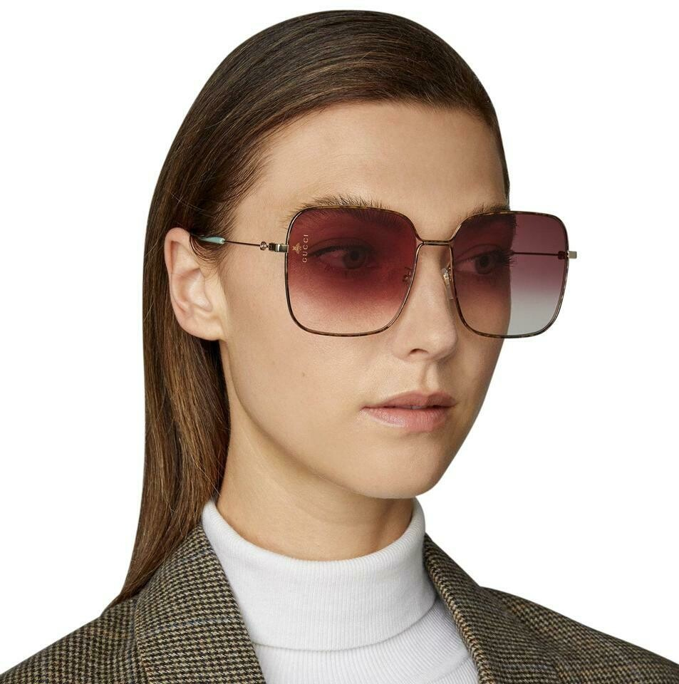 Gucci Rectangle Metal Sunglasses In Violet/Gold