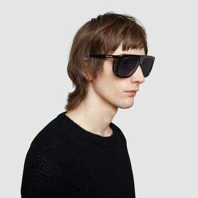Gucci Square-frame sunglasses with blinkers In Amber Tortoiseshell