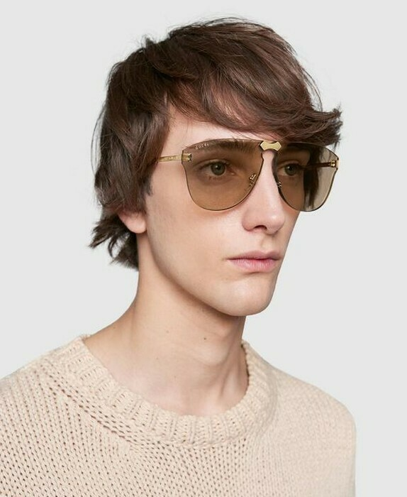 Gucci Rimless Frame Unisex Metal In Gold Brown
