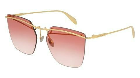 Alexander McQueen Gold Edge Sunglasses With Red Lenses