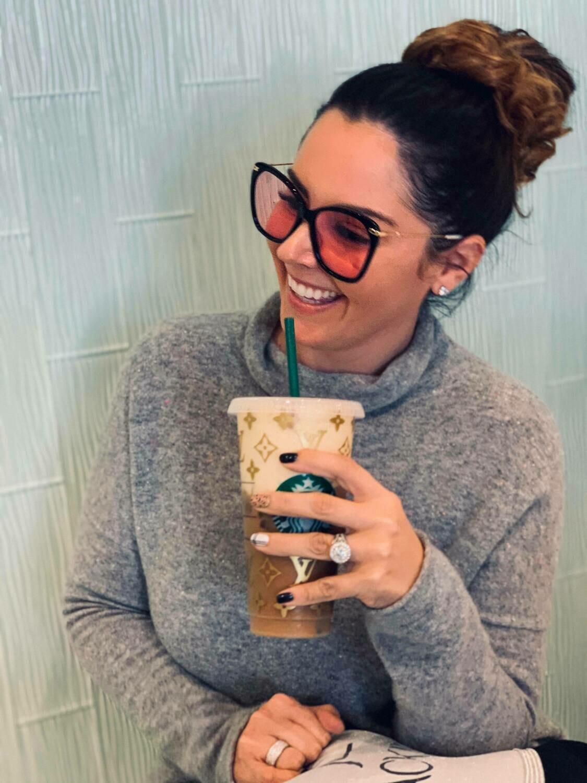 Designer Starbucks Cup In Gold Sparkle