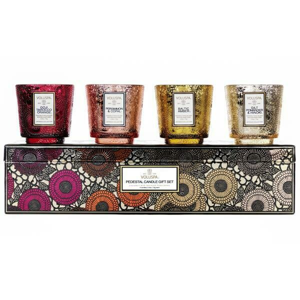 Voluspa Warm Tones Pedestal 4 Candle Gift Set