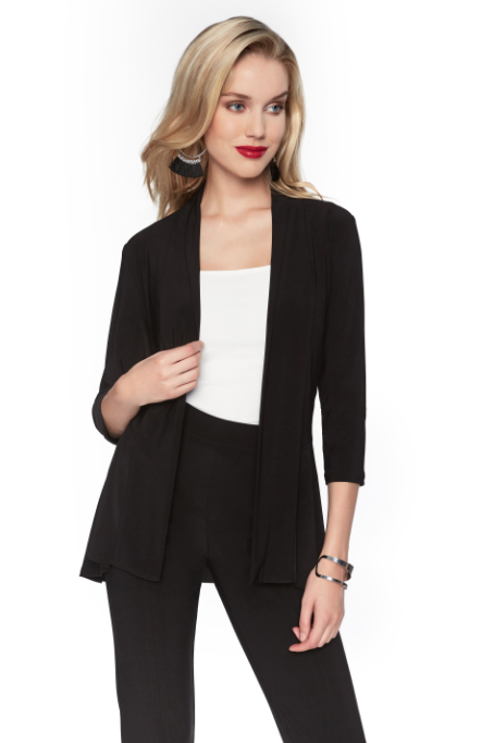 Frank Lyman Unstructured Matte Jersey Buttonless Cardigan In Black