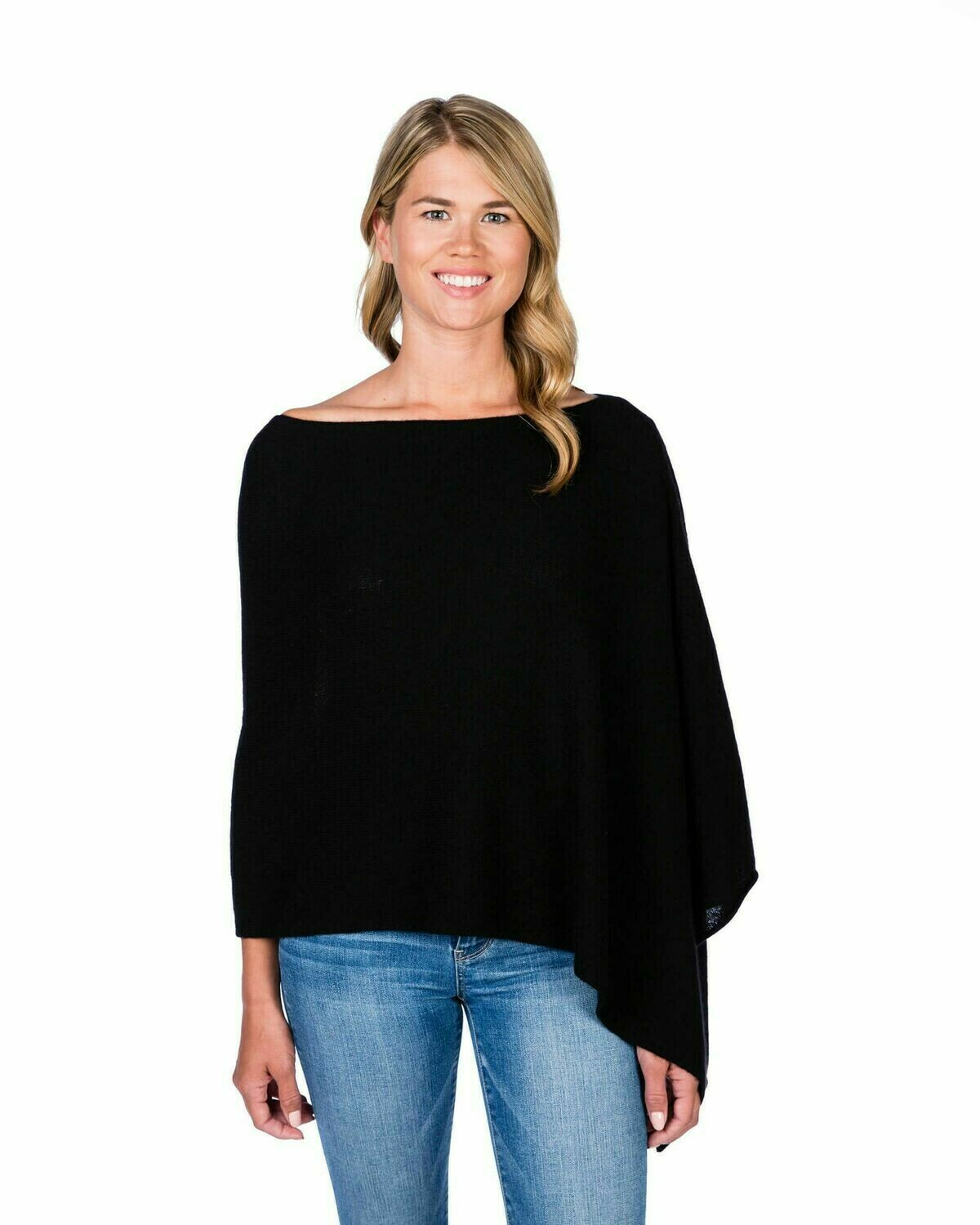 Jackie Z 100% Cashmere Dress Topper Poncho in Ebony
