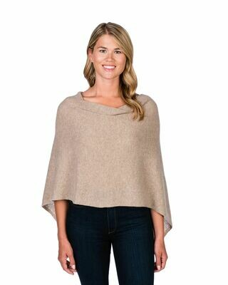 Jackie Z 100% Cashmere Dress Topper Poncho in Natural