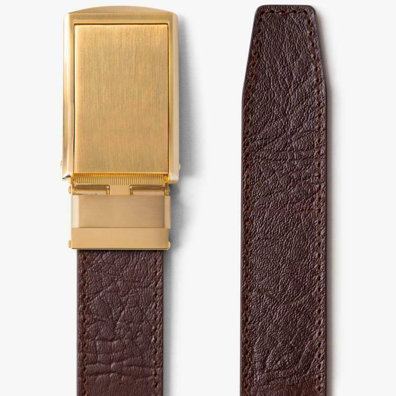 Slide Belt Brown Top Grain Leather Belt w/ Gold Buckle