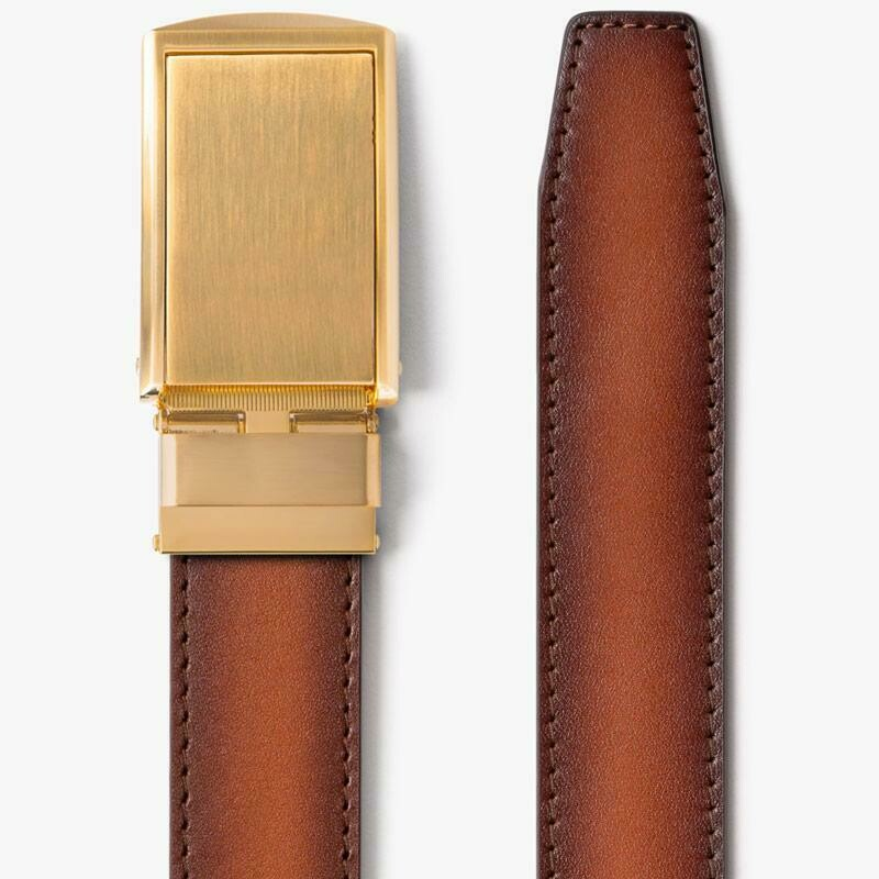 Slide Belt Cognac Full Grain Leather Belt w/ Gold buckle