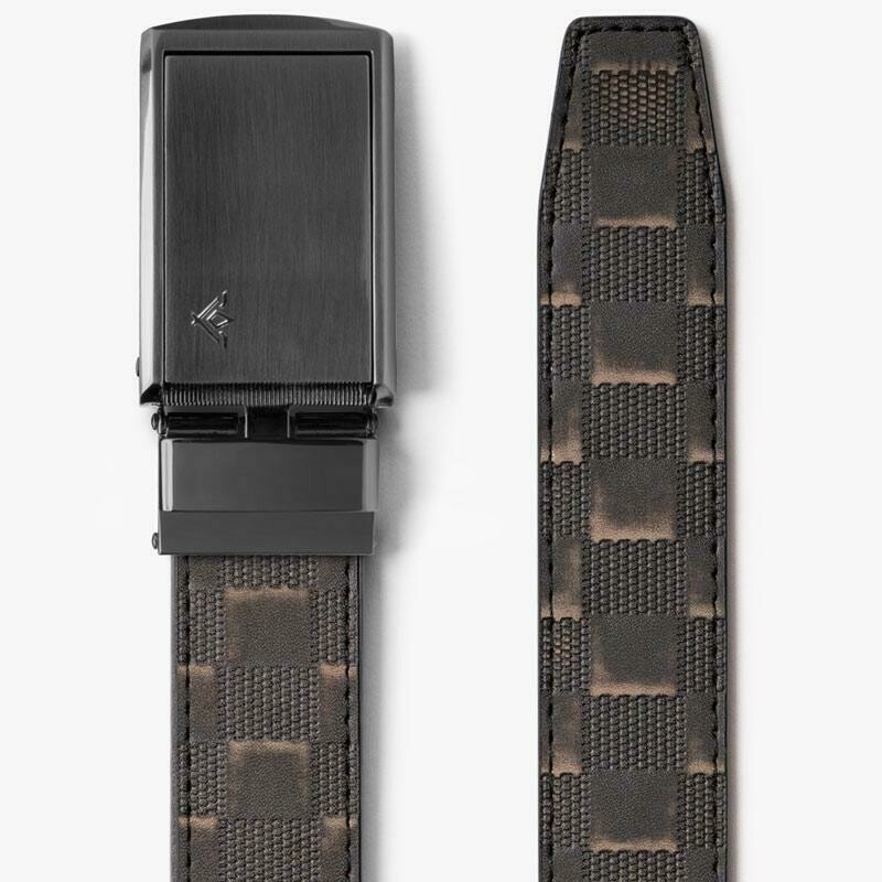 Slide Belts  Distressed Black Checkered Belt w/ Black Buckle