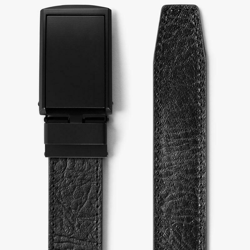 Slide Belts  Black Top Grain Leather Belt w/ Matte Black Buckle