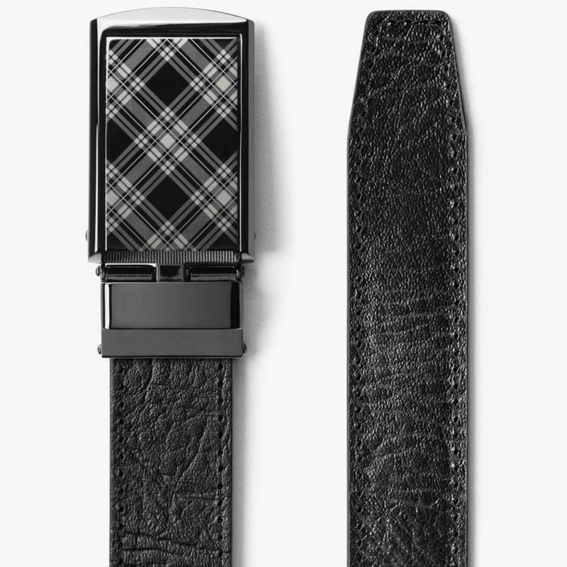 Slide Belt Black Top Grain Leather Belt w/ Plaid Buckle