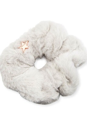 Jocelyn Sheared Rabbit Fur Scrunchie Grey
