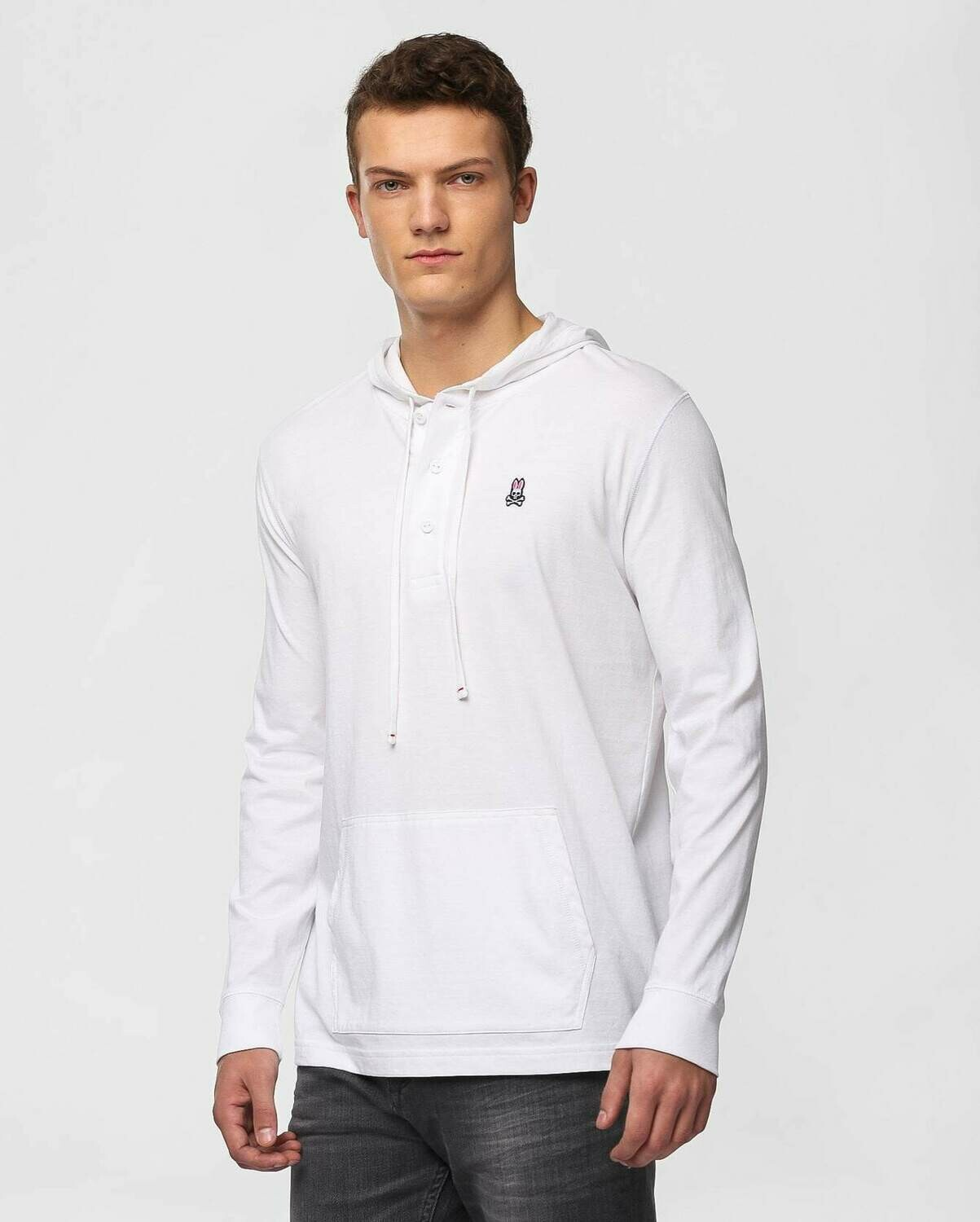 Psycho Bunny Mens Diggle Button Placket Hoodie In White