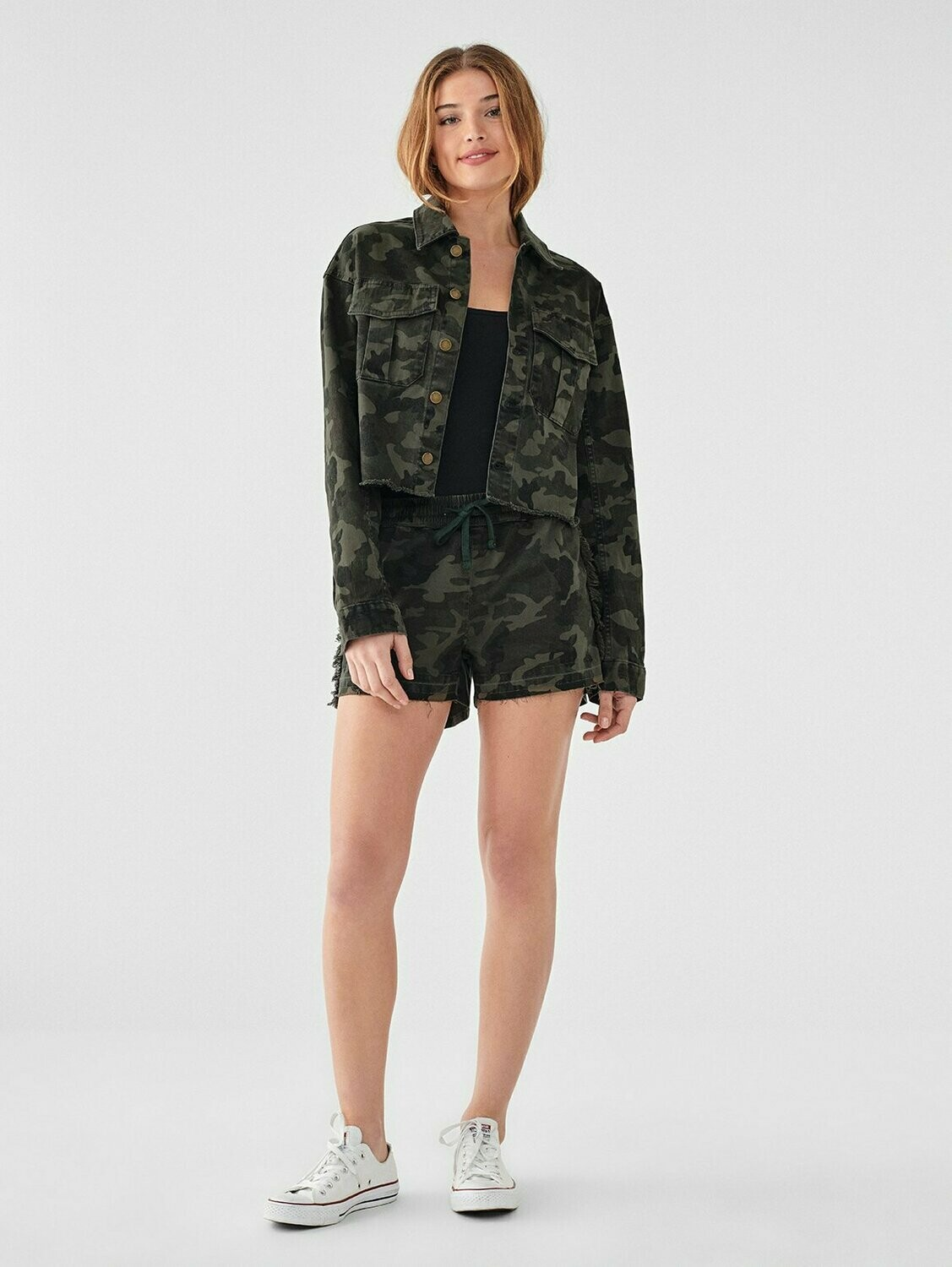 DL 1961 Annie Cropped Utility Jacket in Camouflage