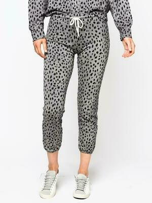 Monrow Cheetah Stitched Elastic Vintage Sweats