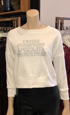 Jackie Z White Zuma French Terry Pullover With Clear Crystals