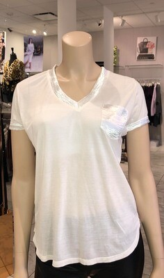 Jackie Z Ecru V-Neck Tee Modal and Sateen