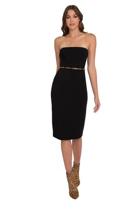 Black Halo Strapless Dress with Leopard Belt in Black