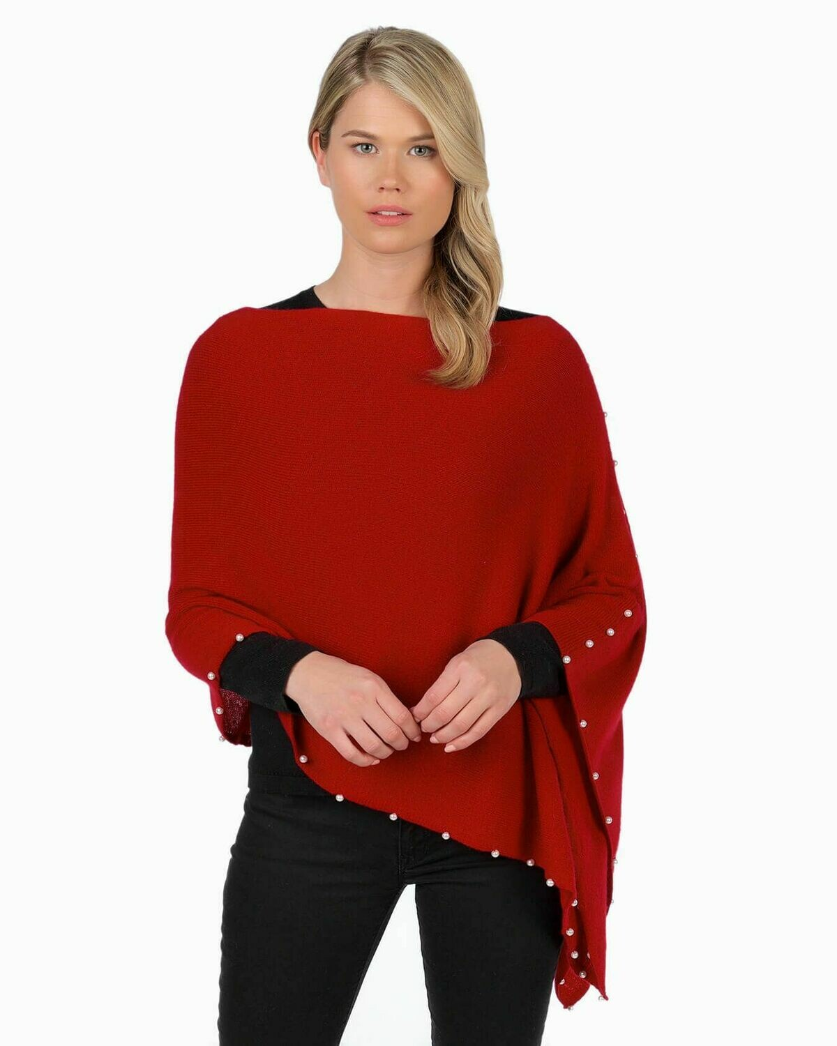 Jackie Z Cashmere Dress Topper With Pearl Trim in Red Velvet