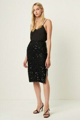 French Connection Desiree Sequin Midi Skirt in Black