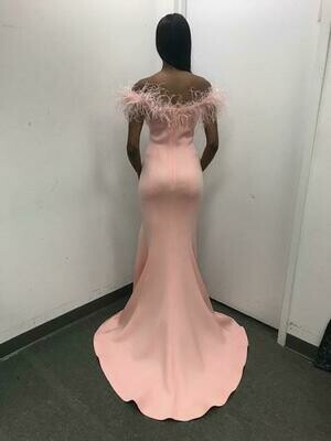Jovani Feathered Off- Shoulder Trumpet Dress In Blush