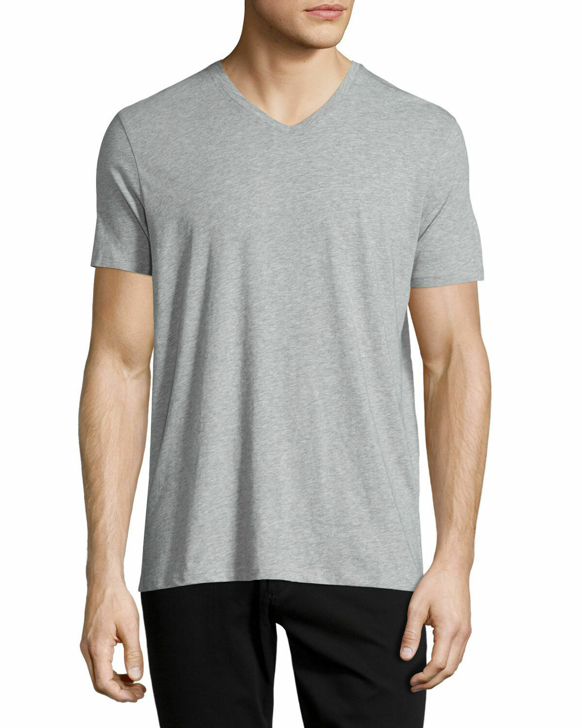 Vince V-Neck Tee In Grey