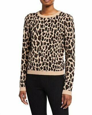 ALICE AND OLIVIA Connie Animal Print Stud Detail Stretch Wool Sweater In Leopard