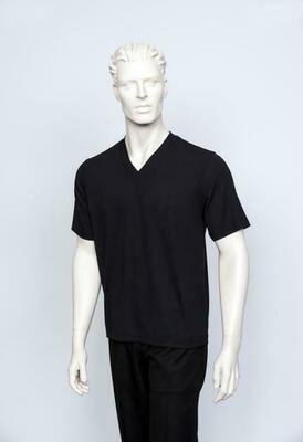 Tulliano Crew Neck Men's V-Neck Ribbed Short Sleeve In Black