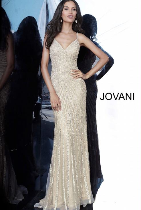 Jovani Beaded Lace Dress In Gold