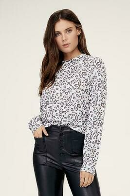 David Lerner Veronica Puff Sleeve Pullover In Leopard Pink