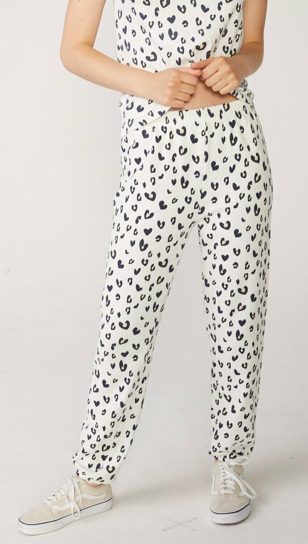 Monrow Heart Leopard Elastic Waist Sweats Vintage Natural