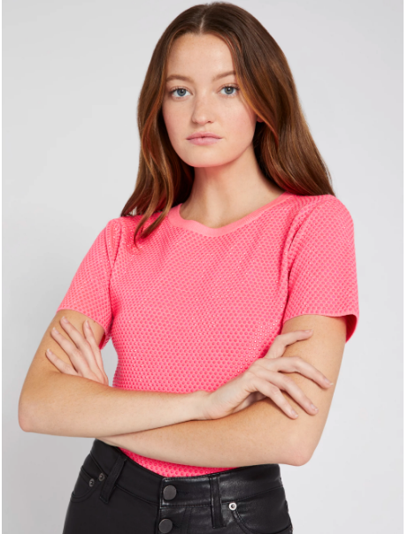 Alice & Olivia Ciara Crystal Pull Over in Neon Pink